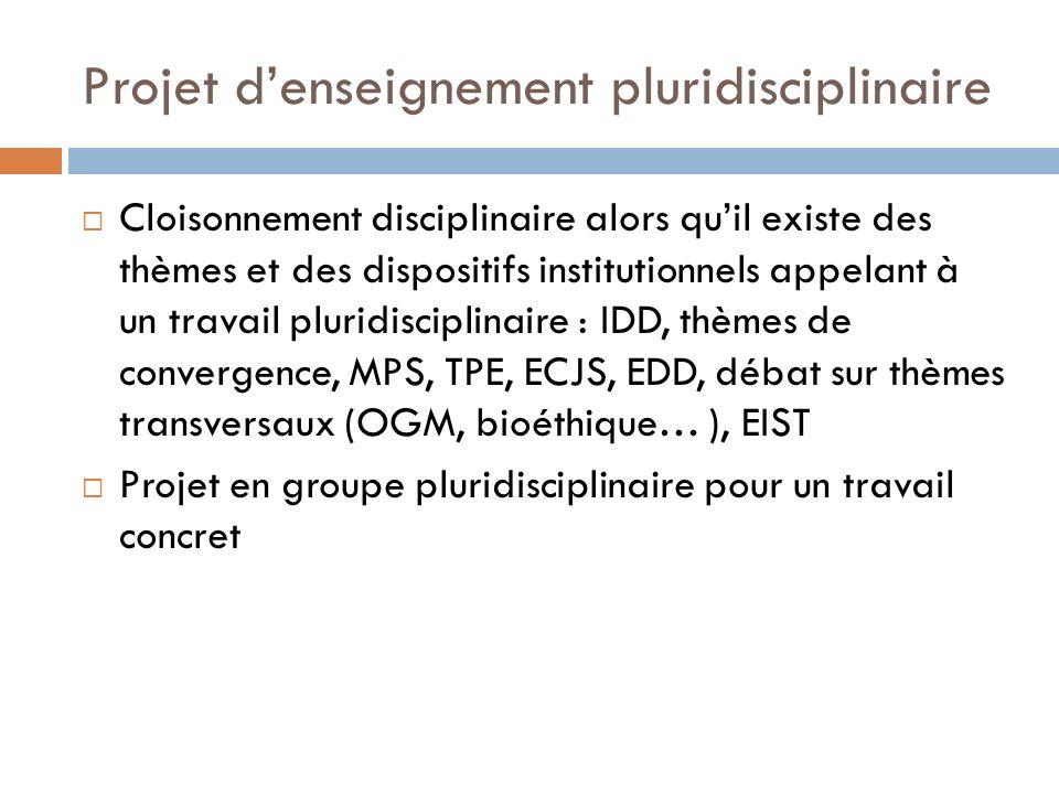 Projet denseignement pluridisciplinaire Cloisonnement disciplinaire alors quil existe des thèmes et des dispositifs institutionnels appelant à un travail pluridisciplinaire : IDD, thèmes de convergence, MPS, TPE, ECJS, EDD, débat sur thèmes transversaux (OGM, bioéthique… ), EIST Projet en groupe pluridisciplinaire pour un travail concret