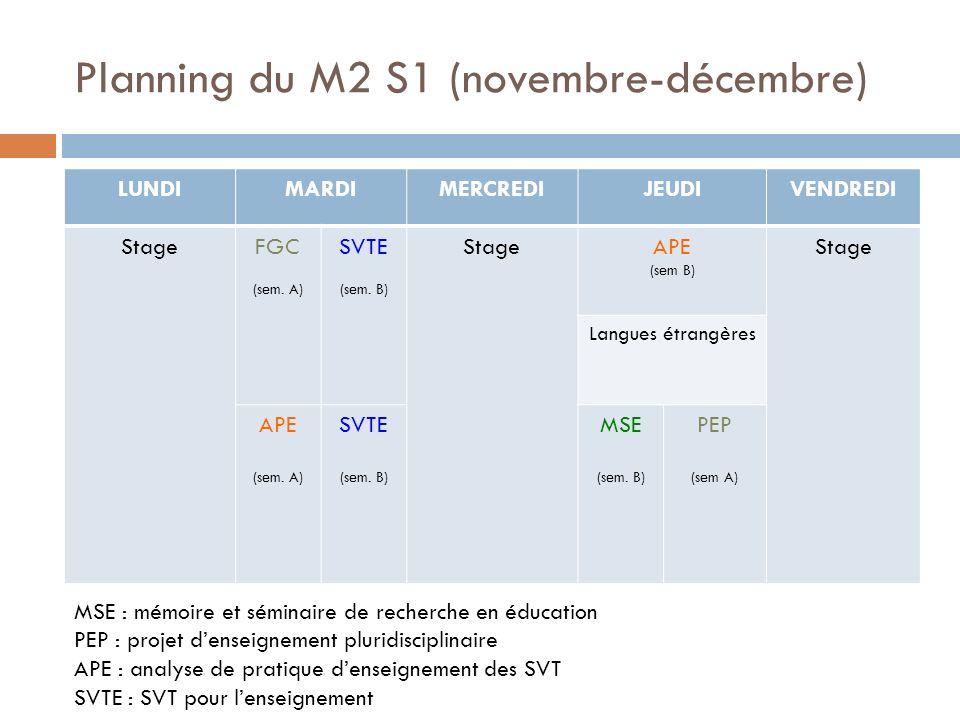 Planning du M2 S1 (novembre-décembre) LUNDIMARDIMERCREDIJEUDIVENDREDI StageFGC (sem.