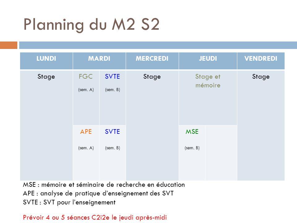 Planning du M2 S2 LUNDIMARDIMERCREDIJEUDIVENDREDI StageFGC (sem.