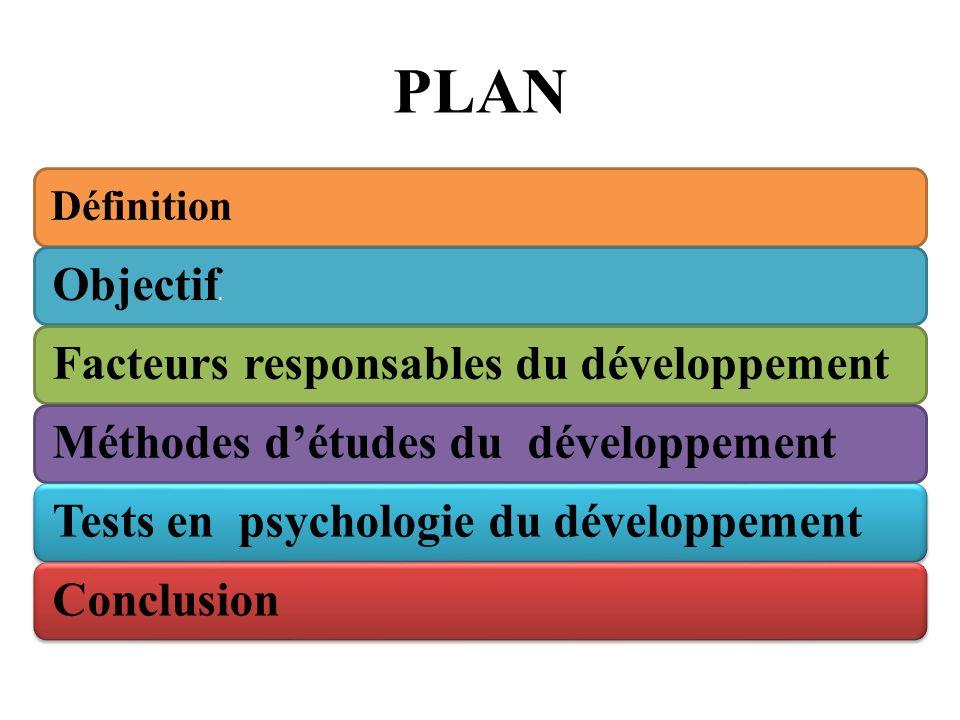 Définition Objectif s Facteurs responsables du développementMéthodes détudes du développementTests en psychologie du développementConclusion PLAN