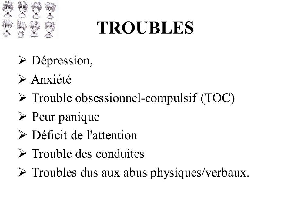 TROUBLES Dépression, Anxiété Trouble obsessionnel-compulsif (TOC) Peur panique Déficit de l'attention Trouble des conduites Troubles dus aux abus phys