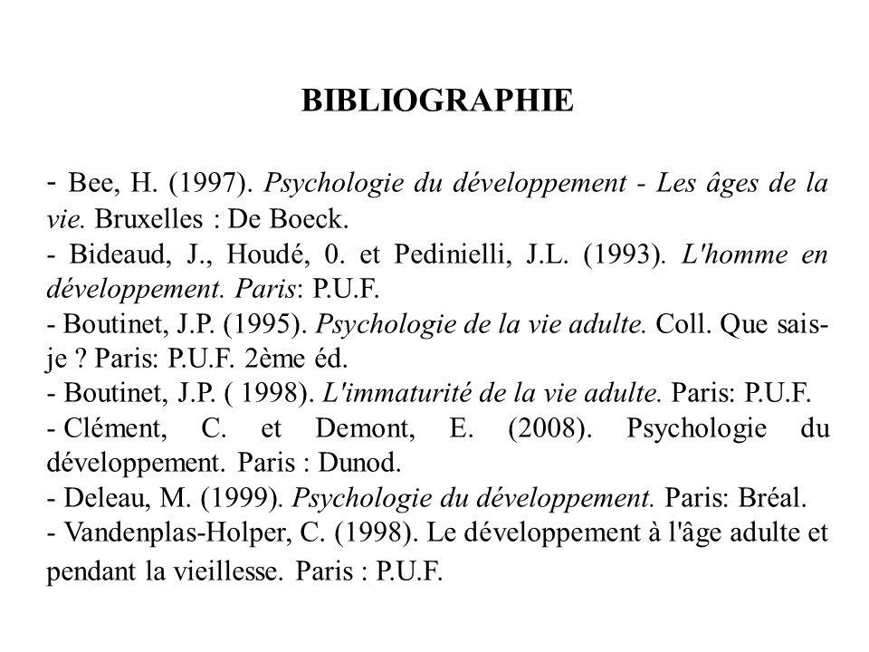 BIBLIOGRAPHIE - Bee, H. (1997). Psychologie du développement - Les âges de la vie. Bruxelles : De Boeck. - Bideaud, J., Houdé, 0. et Pedinielli, J.L.