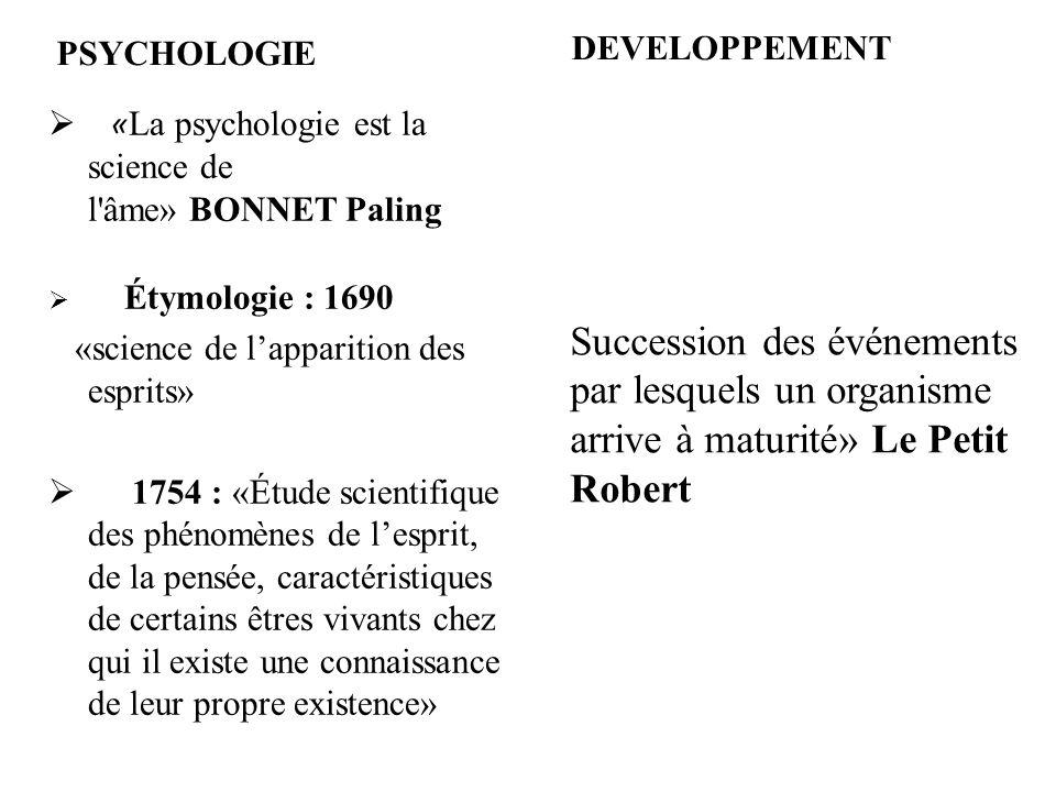 PSYCHOLOGIE « La psychologie est la science de l'âme» BONNET Paling Étymologie : 1690 «science de lapparition des esprits» 1754 : «Étude scientifique