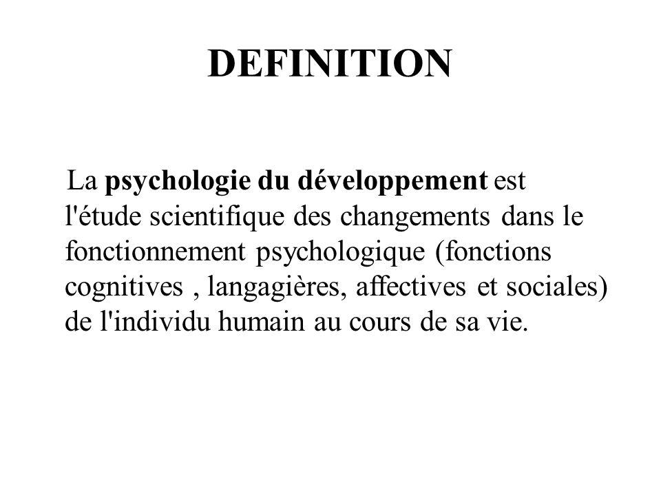 DEFINITION La psychologie du développement est l'étude scientifique des changements dans le fonctionnement psychologique (fonctions cognitives, langag