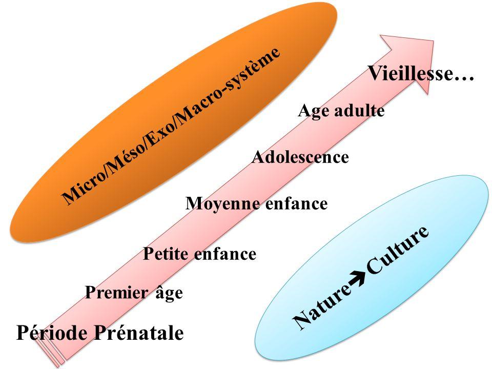 Période Prénatale Premier âge Petite enfance Moyenne enfance Adolescence Age adulte Vieillesse… Nature Culture Micro/Méso/Exo/Macro-système