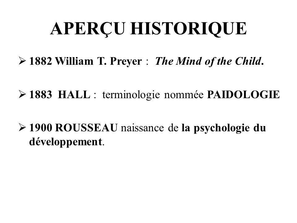APERÇU HISTORIQUE 1882 William T. Preyer : The Mind of the Child. 1883 HALL : terminologie nommée PAIDOLOGIE 1900 ROUSSEAU naissance de la psychologie