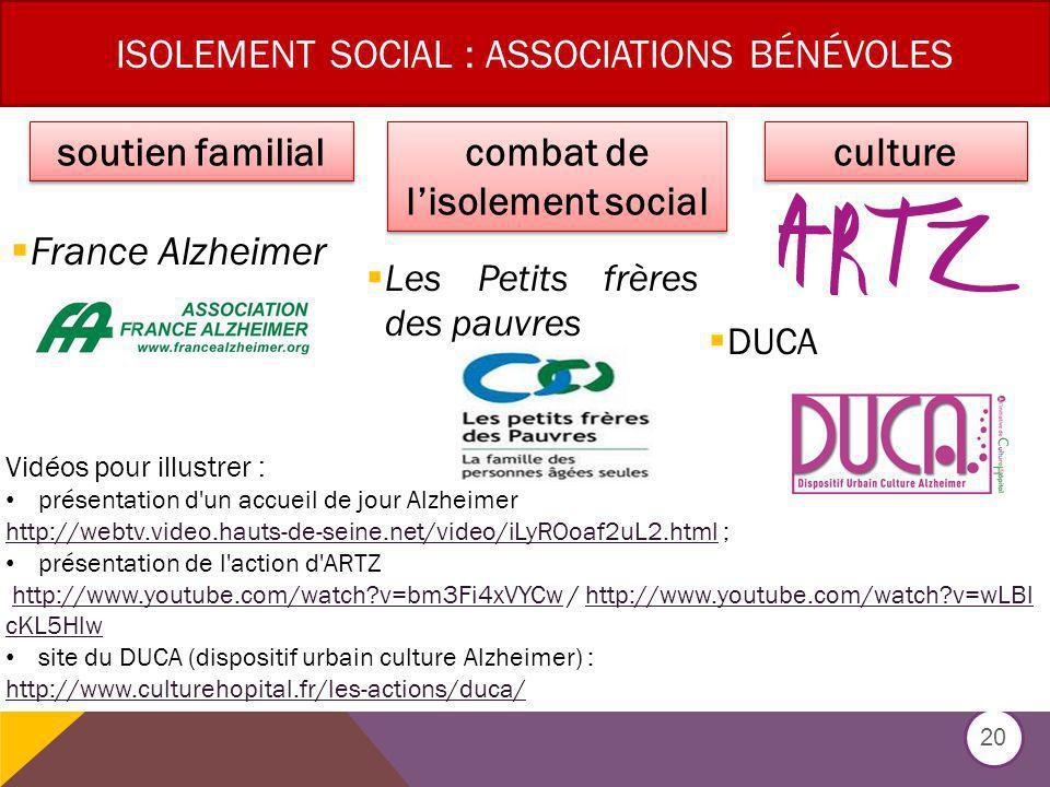 ISOLEMENT SOCIAL : ASSOCIATIONS BÉNÉVOLES France Alzheimer Les Petits frères des pauvres DUCA 20 soutien familial combat de lisolement social culture