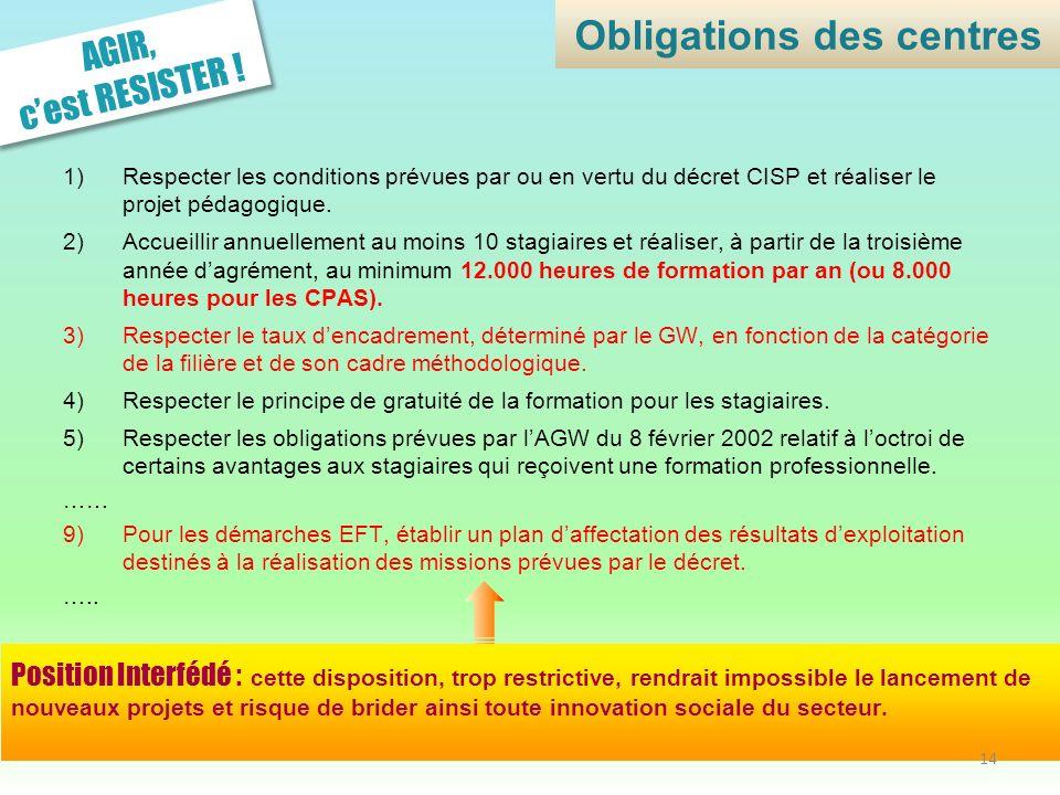 AGIR, cest RESISTER ! 1)Respecter les conditions prévues par ou en vertu du décret CISP et réaliser le projet pédagogique. 2)Accueillir annuellement a