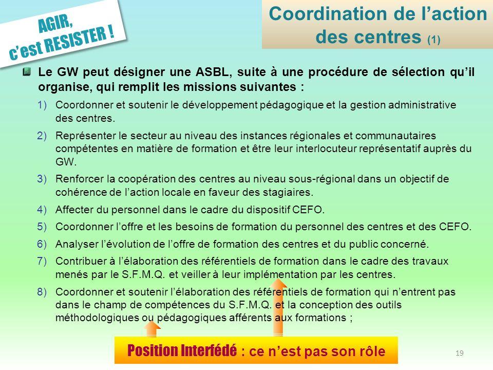 Le GW peut désigner une ASBL, suite à une procédure de sélection quil organise, qui remplit les missions suivantes : 1)Coordonner et soutenir le dével