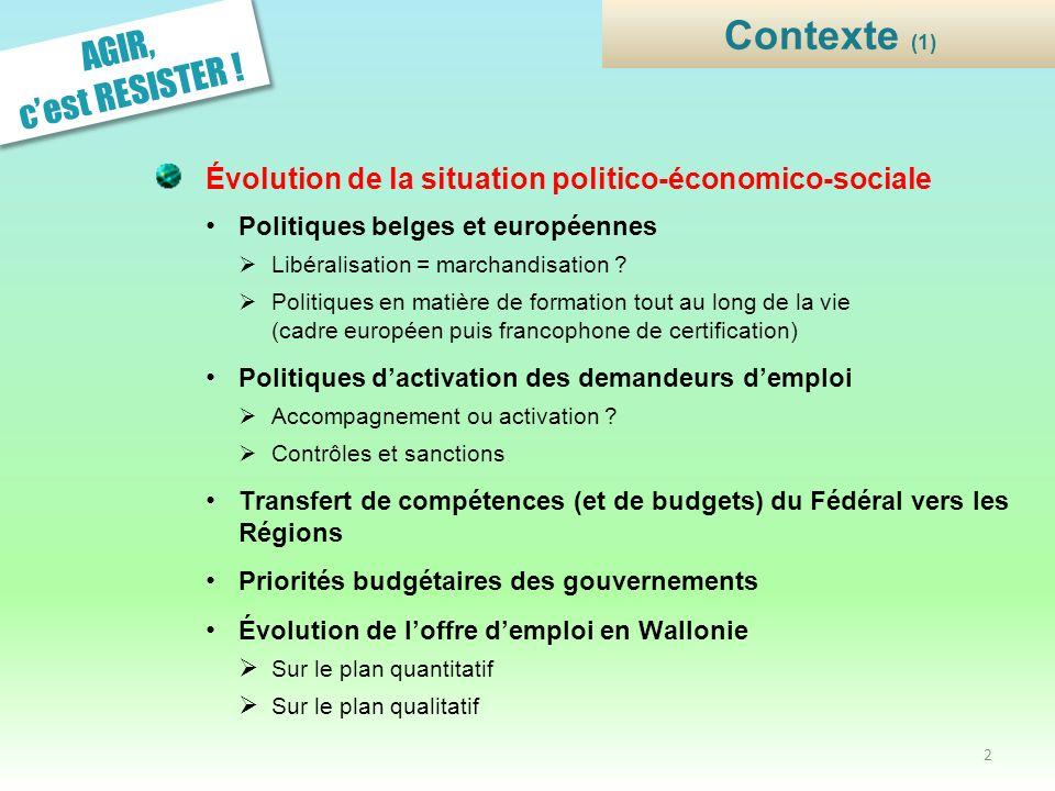 Évolution de la situation politico-économico-sociale Politiques belges et européennes Libéralisation = marchandisation ? Politiques en matière de form