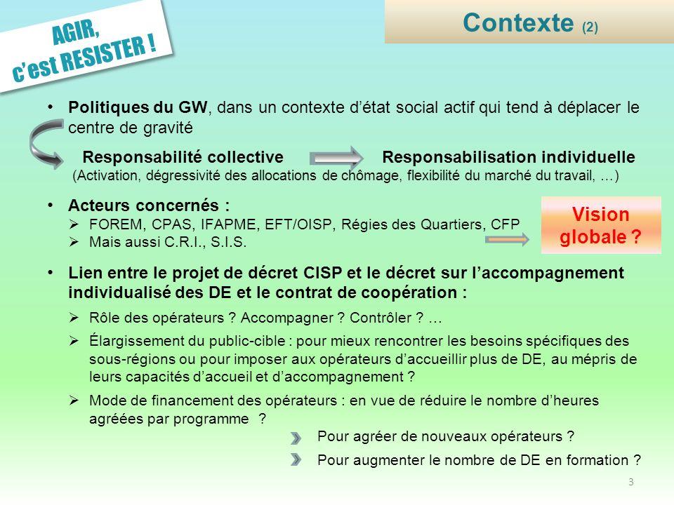 AGIR, cest RESISTER ! Politiques du GW, dans un contexte détat social actif qui tend à déplacer le centre de gravité Responsabilité collective Respons