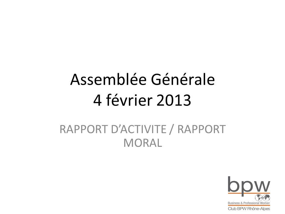 Assemblée Générale 4 février 2013 RAPPORT DACTIVITE / RAPPORT MORAL