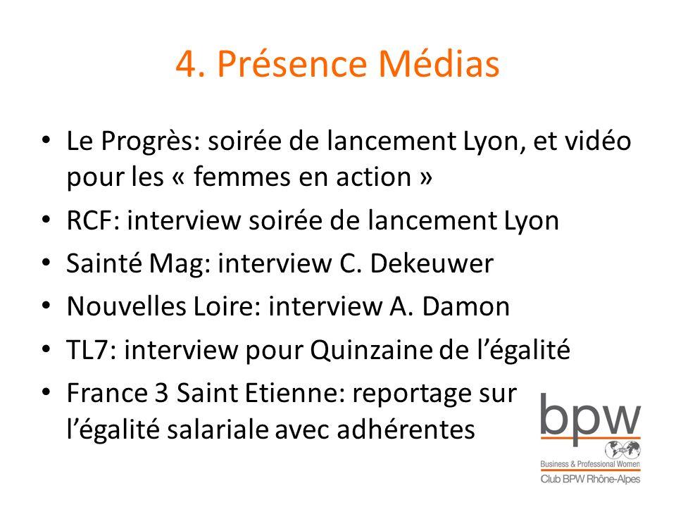 4. Présence Médias Le Progrès: soirée de lancement Lyon, et vidéo pour les « femmes en action » RCF: interview soirée de lancement Lyon Sainté Mag: in