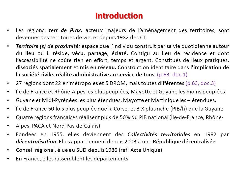 Introduction Les régions, terr de Prox. acteurs majeurs de laménagement des territoires, sont devenues des territoires de vie, et depuis 1982 des CT T