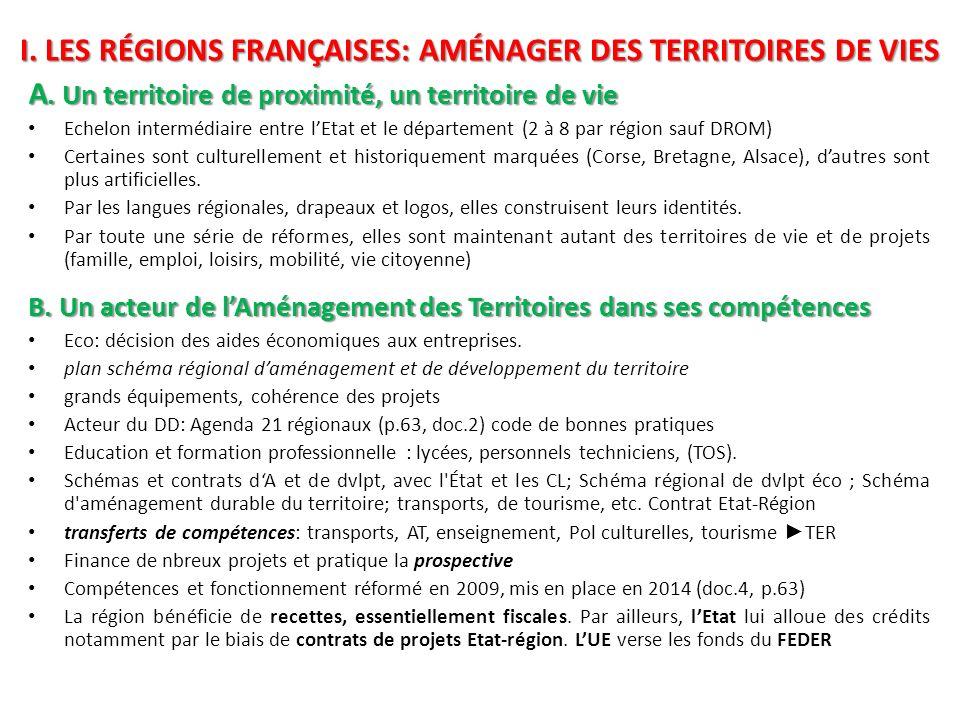 I. LES RÉGIONS FRANÇAISES: AMÉNAGER DES TERRITOIRES DE VIES A. Un territoire de proximité, un territoire de vie Echelon intermédiaire entre lEtat et l