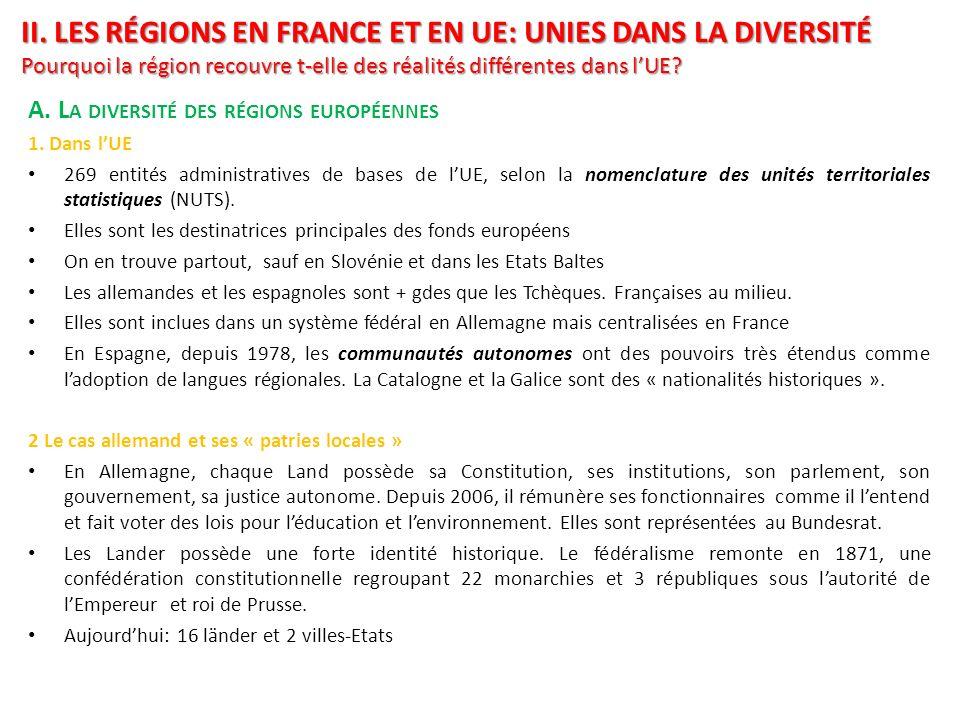 II. LES RÉGIONS EN FRANCE ET EN UE: UNIES DANS LA DIVERSITÉ Pourquoi la région recouvre t-elle des réalités différentes dans lUE? A. L A DIVERSITÉ DES