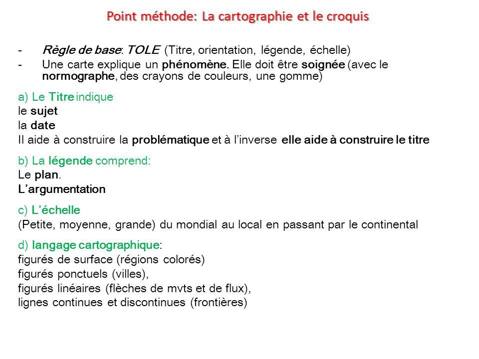 Point méthode: La cartographie et le croquis -Règle de base: TOLE (Titre, orientation, légende, échelle) -Une carte explique un phénomène. Elle doit ê
