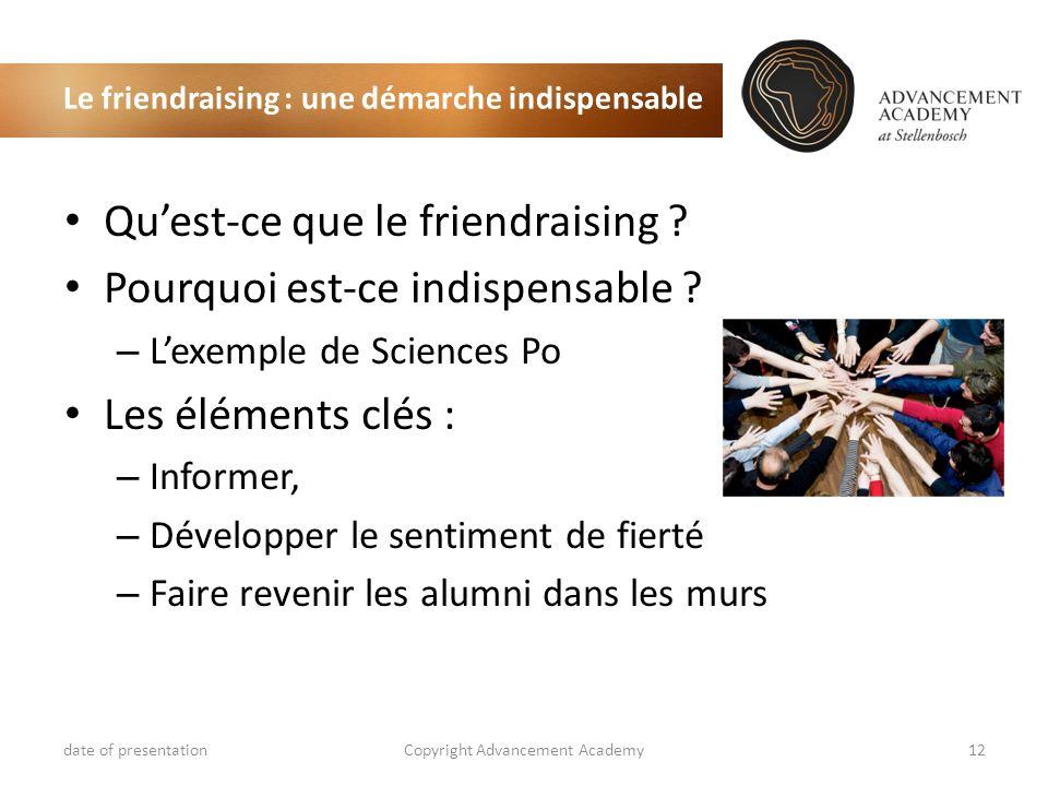 Le friendraising : une démarche indispensable date of presentationCopyright Advancement Academy12 Quest-ce que le friendraising ? Pourquoi est-ce indi