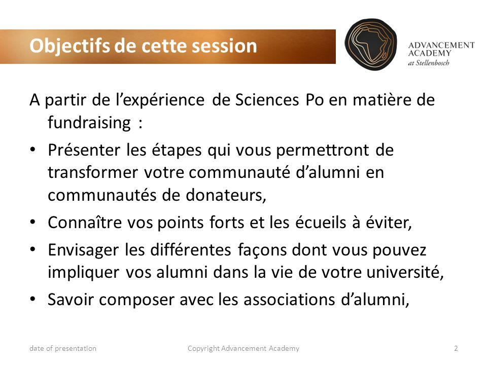 Objectifs de cette session date of presentationCopyright Advancement Academy2 A partir de lexpérience de Sciences Po en matière de fundraising : Prése