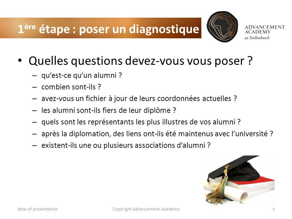 1 ère étape : poser un diagnostique Quelles questions devez-vous vous poser ? – quest-ce quun alumni ? – combien sont-ils ? – avez-vous un fichier à j