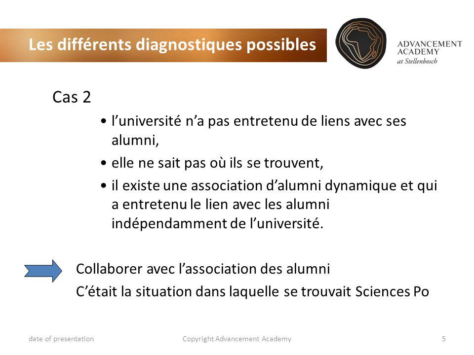 Les différents diagnostiques possibles Cas 2 luniversité na pas entretenu de liens avec ses alumni, elle ne sait pas où ils se trouvent, il existe une