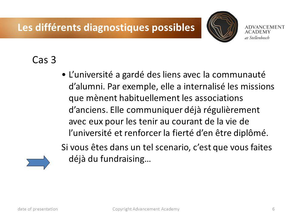Les différents diagnostiques possibles Cas 3 Luniversité a gardé des liens avec la communauté dalumni. Par exemple, elle a internalisé les missions qu