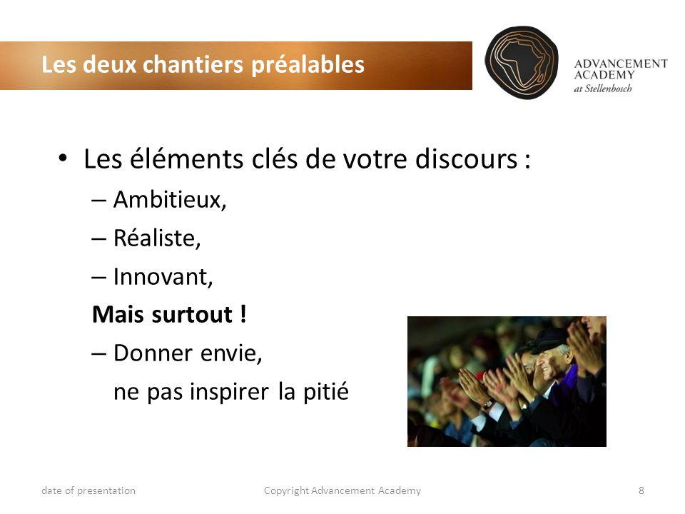 Les deux chantiers préalables date of presentationCopyright Advancement Academy8 Les éléments clés de votre discours : – Ambitieux, – Réaliste, – Innovant, Mais surtout .