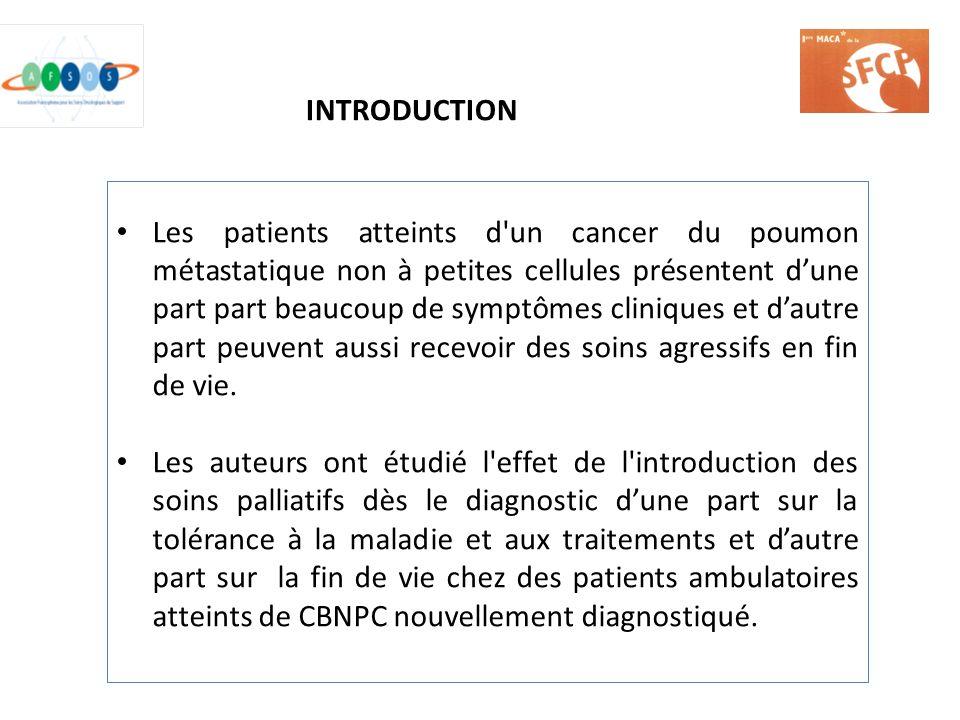 Les patients atteints d'un cancer du poumon métastatique non à petites cellules présentent dune part part beaucoup de symptômes cliniques et dautre pa