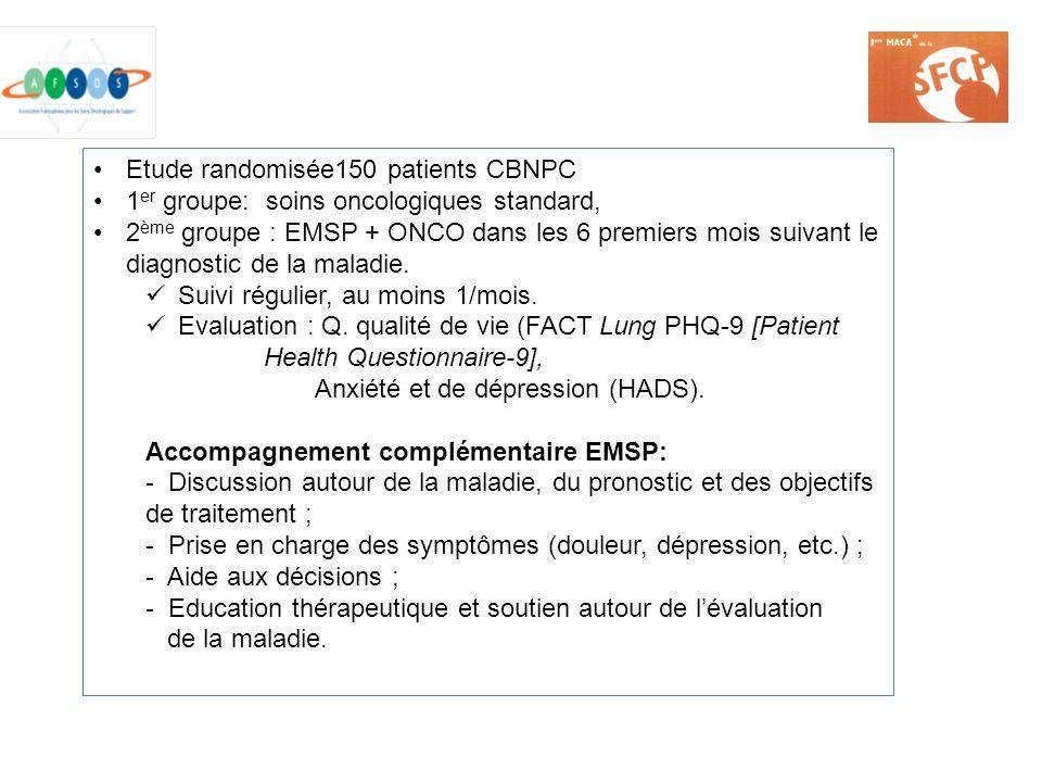 Etude randomisée150 patients CBNPC 1 er groupe: soins oncologiques standard, 2 ème groupe : EMSP + ONCO dans les 6 premiers mois suivant le diagnostic