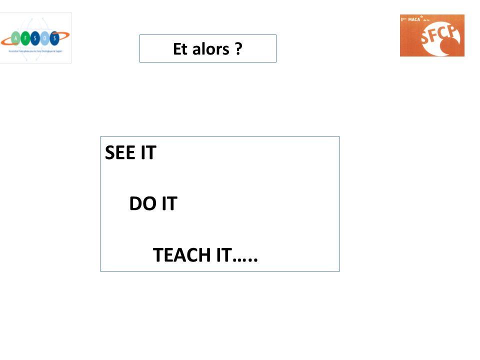 SEE IT DO IT TEACH IT….. Et alors ?