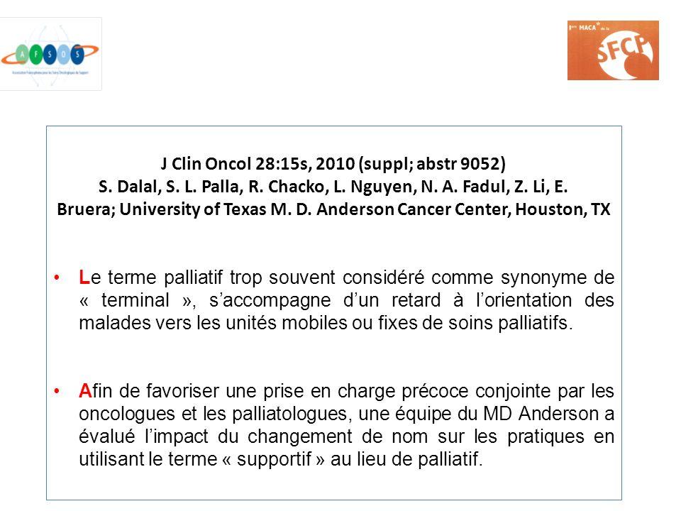 J Clin Oncol 28:15s, 2010 (suppl; abstr 9052) S. Dalal, S. L. Palla, R. Chacko, L. Nguyen, N. A. Fadul, Z. Li, E. Bruera; University of Texas M. D. An