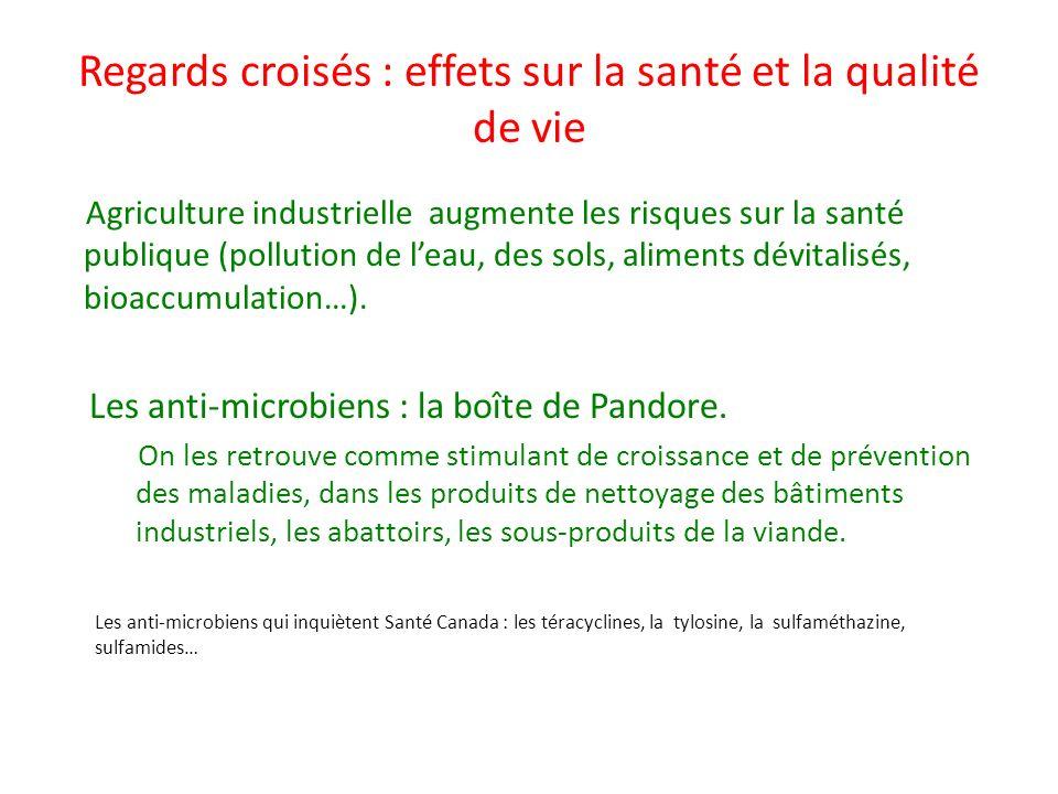 Regards croisés : effets sur la santé et la qualité de vie Agriculture industrielle augmente les risques sur la santé publique (pollution de leau, des