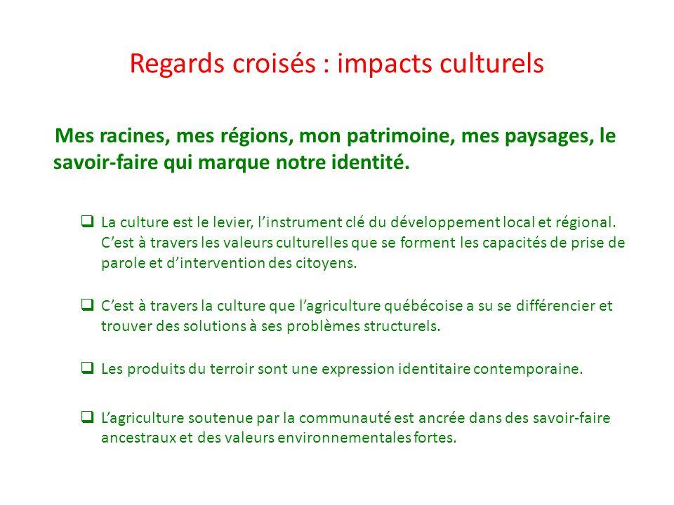 Regards croisés : impacts culturels Mes racines, mes régions, mon patrimoine, mes paysages, le savoir-faire qui marque notre identité. La culture est