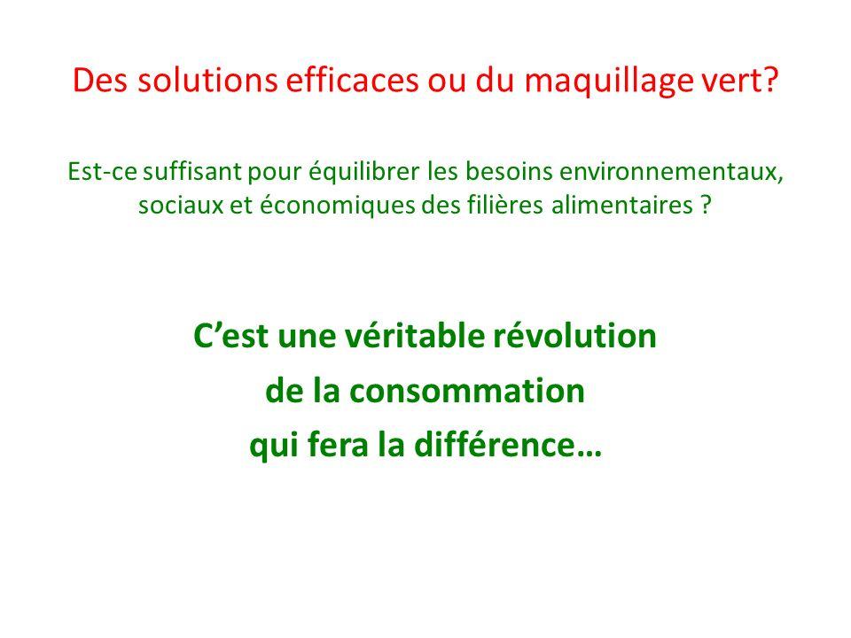 Des solutions efficaces ou du maquillage vert? Est-ce suffisant pour équilibrer les besoins environnementaux, sociaux et économiques des filières alim