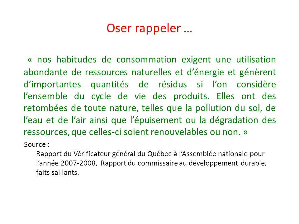 Oser rappeler … « nos habitudes de consommation exigent une utilisation abondante de ressources naturelles et dénergie et génèrent dimportantes quanti