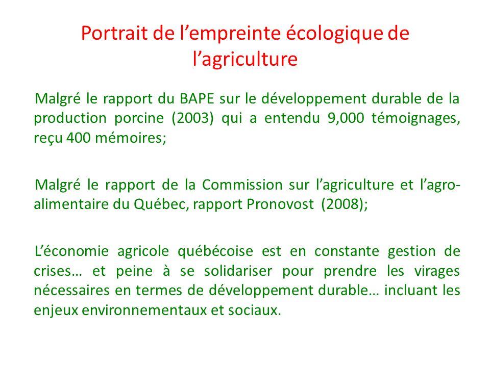 Portrait de lempreinte écologique de lagriculture Malgré le rapport du BAPE sur le développement durable de la production porcine (2003) qui a entendu