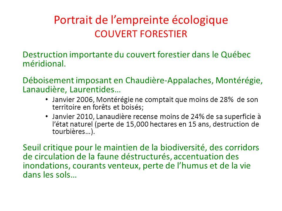 Portrait de lempreinte écologique COUVERT FORESTIER Destruction importante du couvert forestier dans le Québec méridional. Déboisement imposant en Cha