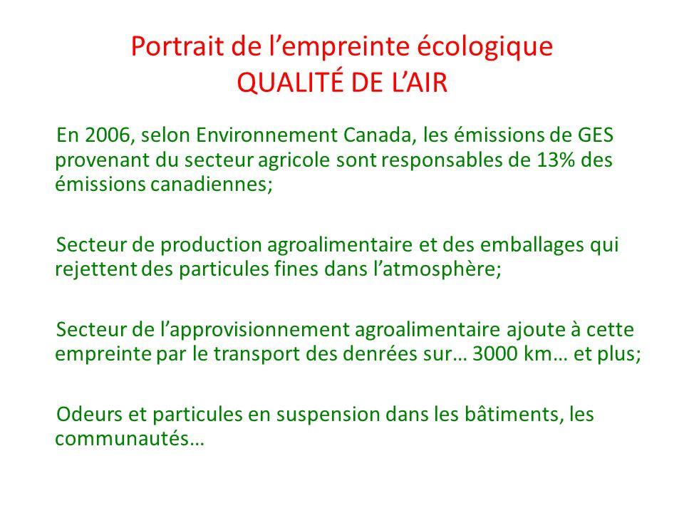 Portrait de lempreinte écologique QUALITÉ DE LAIR En 2006, selon Environnement Canada, les émissions de GES provenant du secteur agricole sont respons