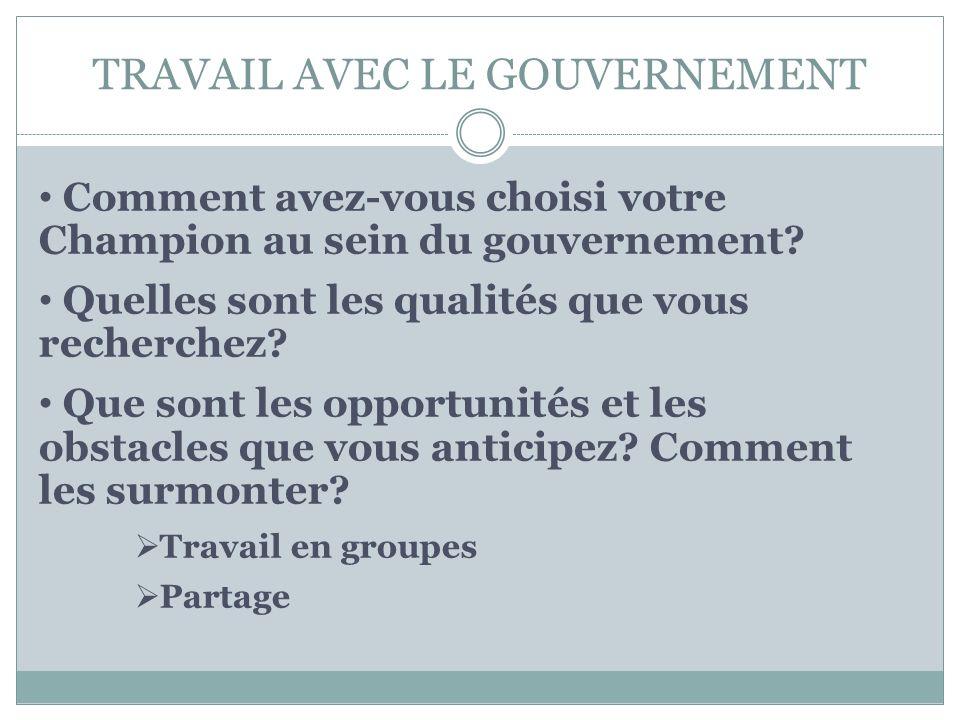 TRAVAIL AVEC LE GOUVERNEMENT Comment avez-vous choisi votre Champion au sein du gouvernement.
