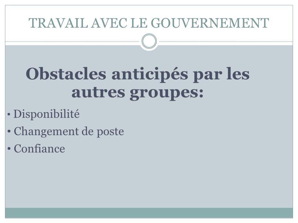 TRAVAIL AVEC LE GOUVERNEMENT Obstacles anticipés par les autres groupes: Disponibilité Changement de poste Confiance