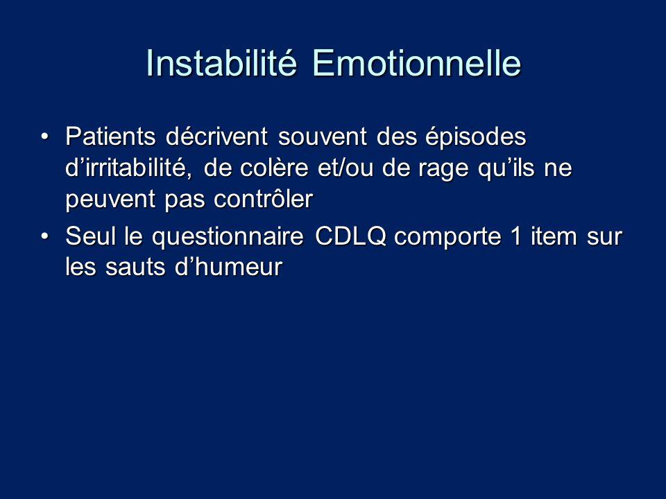 Instabilité Emotionnelle Patients décrivent souvent des épisodes dirritabilité, de colère et/ou de rage quils ne peuvent pas contrôlerPatients décrive