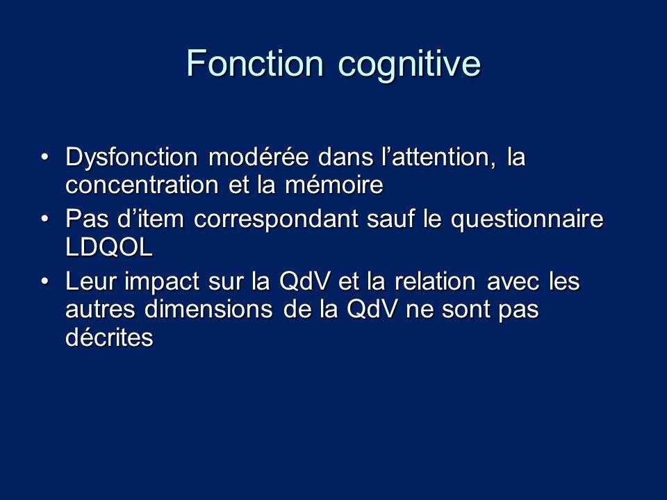 Fonction cognitive Dysfonction modérée dans lattention, la concentration et la mémoireDysfonction modérée dans lattention, la concentration et la mémo