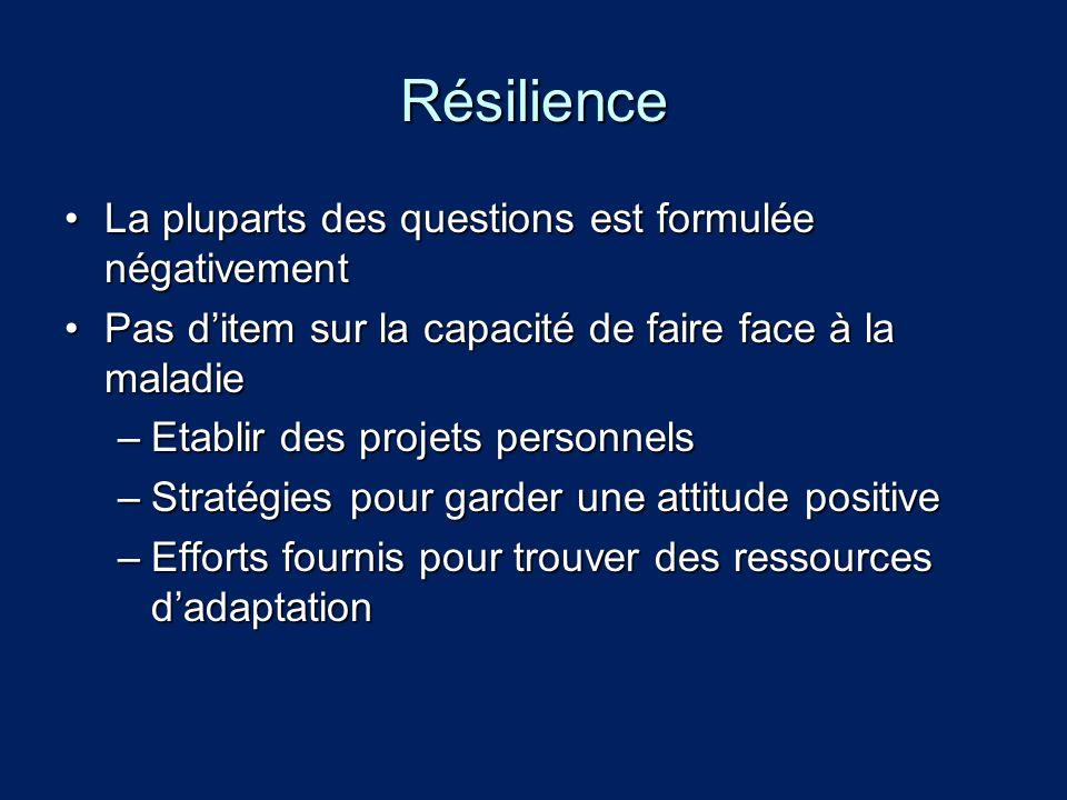 Résilience La pluparts des questions est formulée négativementLa pluparts des questions est formulée négativement Pas ditem sur la capacité de faire f