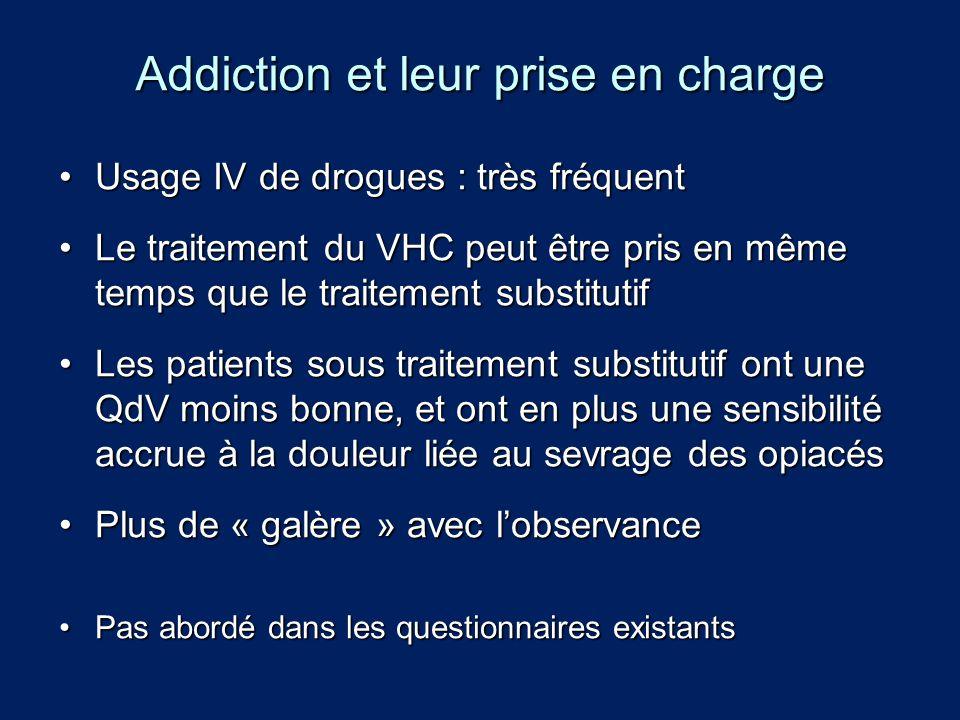 Addiction et leur prise en charge Addiction et leur prise en charge Usage IV de drogues : très fréquentUsage IV de drogues : très fréquent Le traiteme