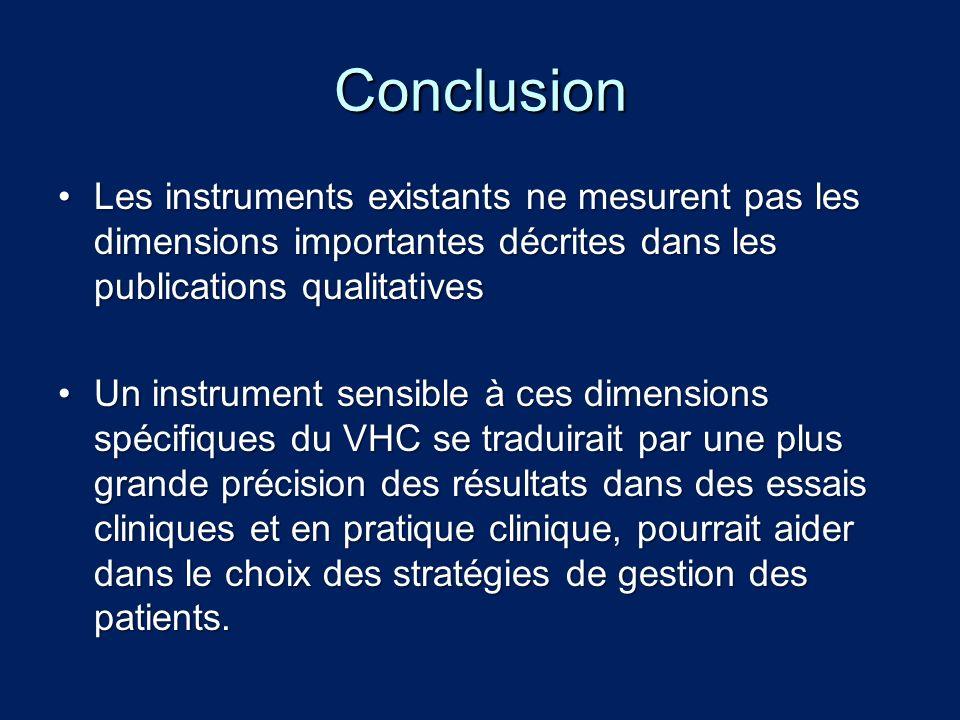 Conclusion Les instruments existants ne mesurent pas les dimensions importantes décrites dans les publications qualitativesLes instruments existants n