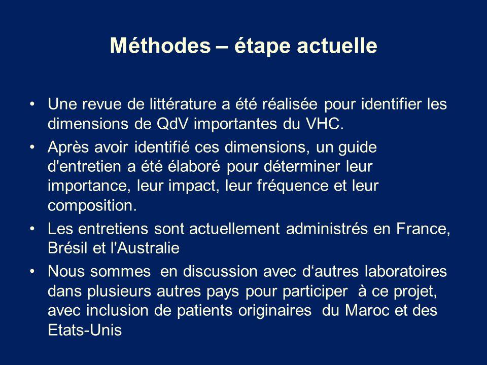 Méthodes – étape actuelle Une revue de littérature a été réalisée pour identifier les dimensions de QdV importantes du VHC. Après avoir identifié ces