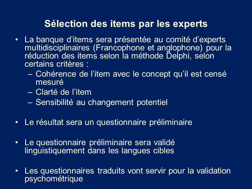 Sélection des items par les experts La banque ditems sera présentée au comité dexperts multidisciplinaires (Francophone et anglophone) pour la réducti