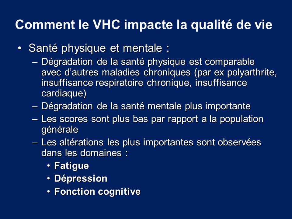 Comment le VHC impacte la qualité de vie Santé physique et mentale :Santé physique et mentale : –Dégradation de la santé physique est comparable avec