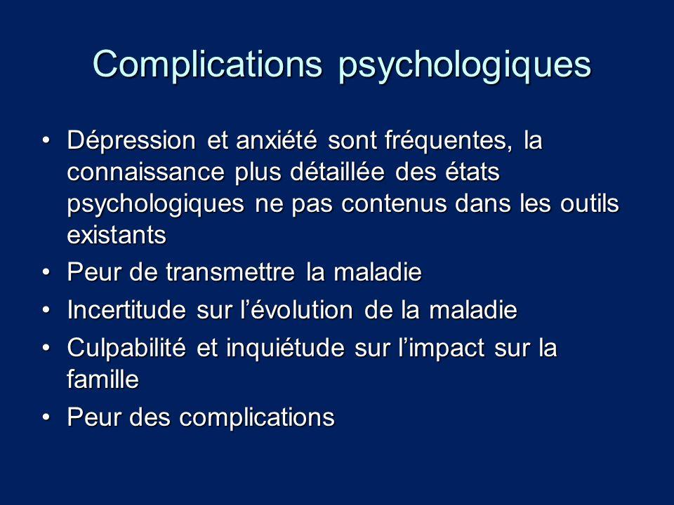 Complications psychologiques Complications psychologiques Dépression et anxiété sont fréquentes, la connaissance plus détaillée des états psychologiqu