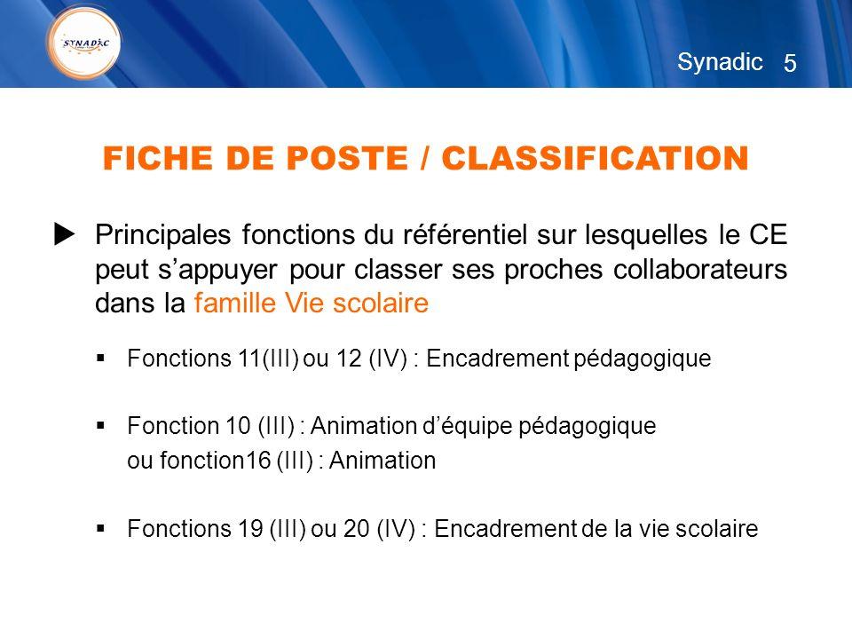 5 Synadic Principales fonctions du référentiel sur lesquelles le CE peut sappuyer pour classer ses proches collaborateurs dans la famille Vie scolaire Fonctions 11(III) ou 12 (IV) : Encadrement pédagogique Fonction 10 (III) : Animation déquipe pédagogique ou fonction16 (III) : Animation Fonctions 19 (III) ou 20 (IV) : Encadrement de la vie scolaire FICHE DE POSTE / CLASSIFICATION